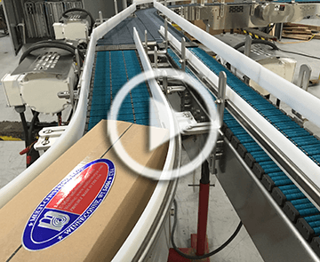 case or box merging conveyor