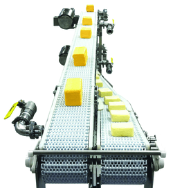 cheese on a conveyor