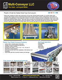 Plastic chain or plastic belt conveyors - table top conveyors