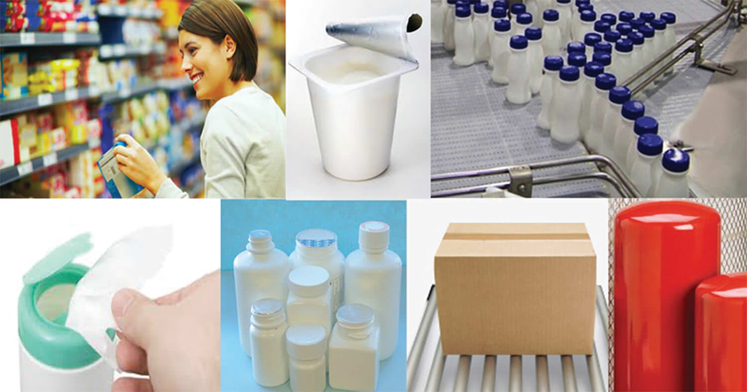 Collage of items packaged using conveyor transportation