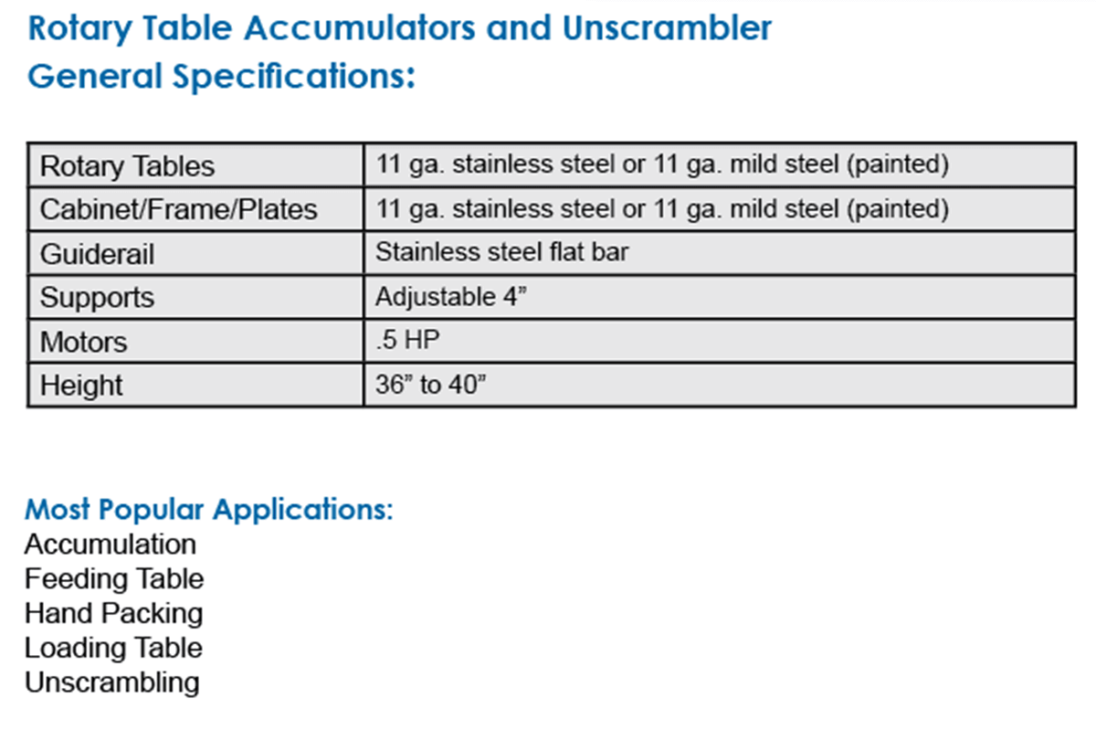 Rotary table specifications from Multi-Conveyor