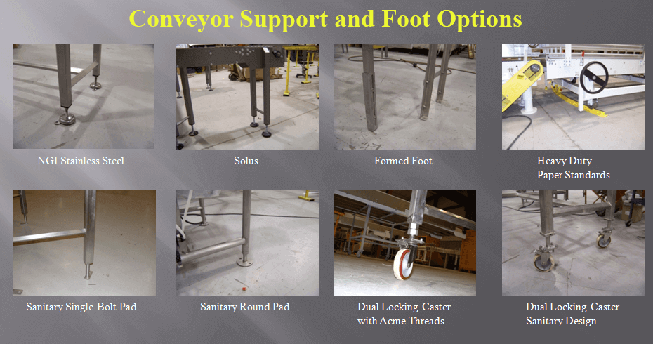 Collage of several support and foot options